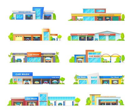Car wash and garage station service buildings vector icons. Vehicle mechanic repair workshop station, automatic transportation carwash services buildungs and trees isolated cartoon exterior design set