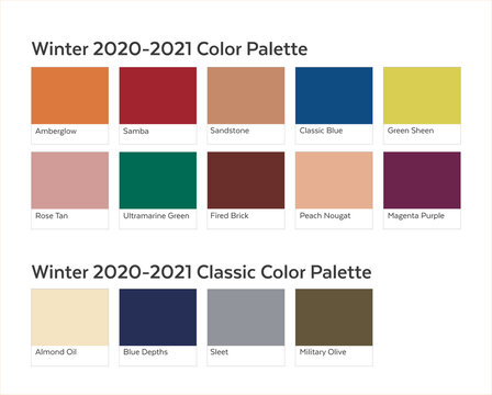 Autumn Winter 2020 - 2021 Color Palette Example. Future Color Trend Forecast. Saturated and Classic Neutral Color Samples Set. Palette Guide with Named Color Swatches Included in EPS File.