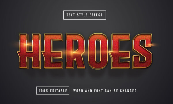 Heroes text effect editable premium download