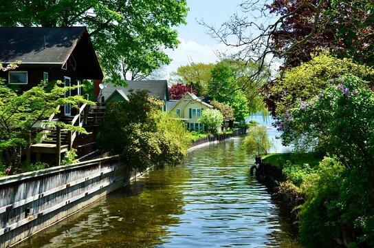 Water path to Seneca Lake from Glenora Falls. Spring scene in Finger Lakes region, New York
