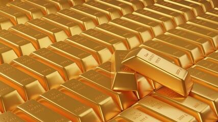 Gold bar stack. 3d render illustration