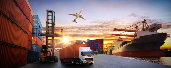 Wall Murals London Logistics and transportaIndustrial Container Cargo freight ship, forklift handling container box loading for logistic import export and transport industry concept backgroundtransport industry