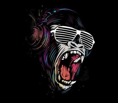 Gorrila Scream Illustration