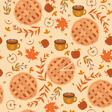 Seamless pattern with apple pie, apples and mugs. Autumn mood. Vector graphics.