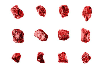 Red gem stones white background isolated closeup, ruby gemstones set, raw shiny garnet collection, rough natural rocks nuggets texture, precious brilliant crystals, mineral samples, jewelry production