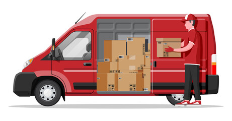 Delivery van full of cardboard boxes isolated on white. Express delivering services commercial truck. Concept of fast and free delivery by car. Cargo and logistic. Cartoon flat vector illustration