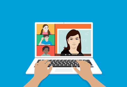 école virtuelle sur ordinateur portable en cas de confinement