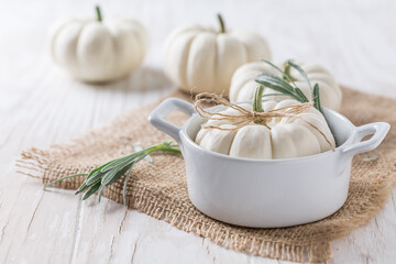 Thanksgiving white pumkins in small pot
