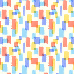 シームレスパターン・水彩風カラフルブロック