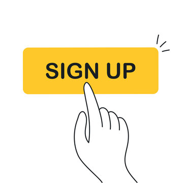 Sign up button and finger presses on sign up button. Registration, lead generation, create profile concept. Flat line vector illustration on white.