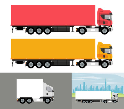 white and colors trucks mockup cars vehicles icons