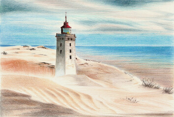 Watercolor pencil illustration of a Rubjerg Knude Lighthouse оn a sandy shore with an ocean in the background