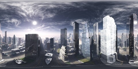 Wall Mural - Panorama of the city. Environment map. HDRI map. equidistant projection. Spherical panorama. 3D rendering