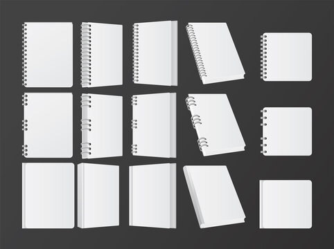 set of books and notebooks mockup color white icons