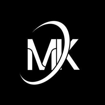 MK logo. M K design. White MK letter. MK/M K letter logo design. Initial letter MK linked circle uppercase monogram logo.