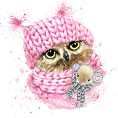 Cute owl watercolor illustration. Fashion design. Christmas illustration. Forest animals. Wild nature.