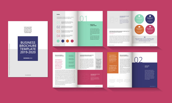 16 pages, 8 pages, annual report,minimal abstract, tri-fold, business Leaflet Brochure Flyer template design set