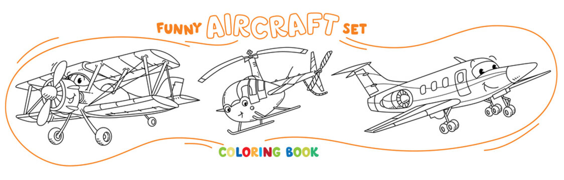Funny light aircraft plane coloring book set