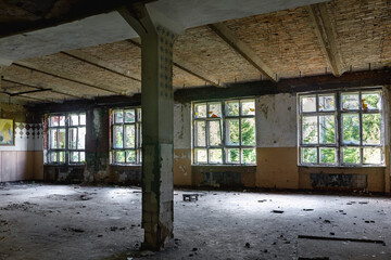 Abandoned manor house interior of dining room