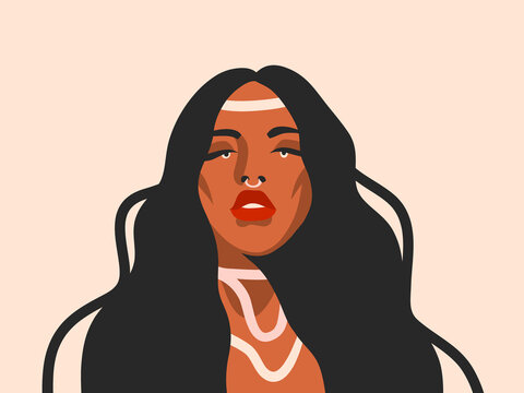 Hand drawn vector abstract stock flat graphic illustration with ethnic tribal black beautiful witchcraft fashion,contemporary woman avatar in simple style ,isolated on white background