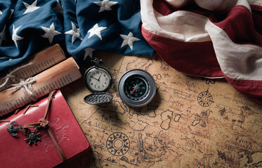 Happy Columbus Day concept. Vintage American flag with compass and retro treasure manuscript.  Flat...