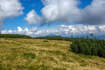 view of Babia Gora from Pilsko peak in Beskidy Mountains in Poland