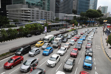 A general view of traffic in a business district in Kuala Lumpur