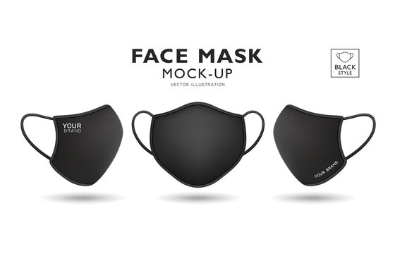 Face mask fabric black color mock up front and side, realistic template design, isolated on white background, Eps 10 vector illustration
