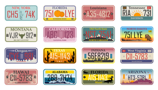 Car plates. Vehicle license numbers of different USA states and countries, truck registration numbers. Road transport metal signs of Texas, New Mexico, Oregon, Ohio and Dakota american states