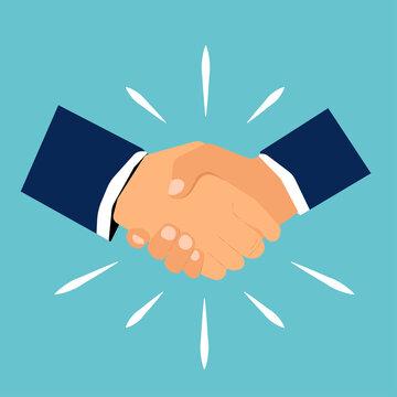 Vector illustration of handshake businessman agreement. Handshake Friendship Partnership. Shaking hands symbol for success deal, happy partnership and greeting shake concepts.Flat style.