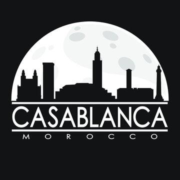 Casablanca Morocco Full Moon Night Skyline Silhouette Design City Vector Art.