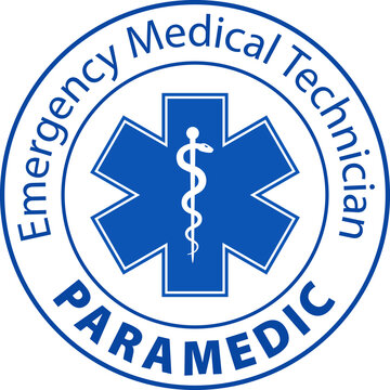 EMT Emergency Medical Technician Paramedic text and Star of Life symbol blue icon isolated on white background.