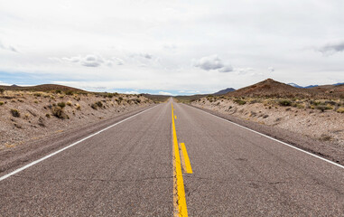 Random stretch of Nevada desert highway, long straight roads and a long time between seeing other drivers. Wall mural