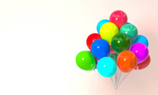 Colorful balloons 3d rendering