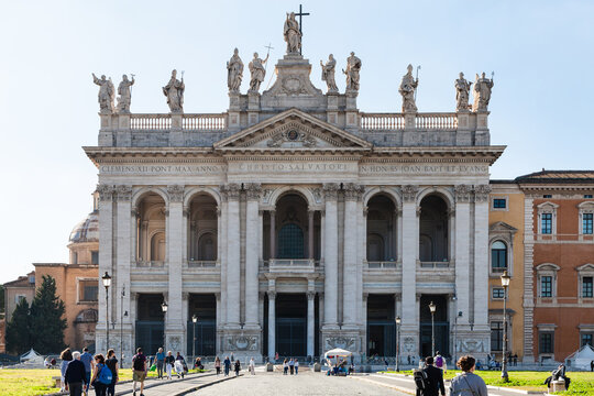 ROME, ITALY - OCTOBER 31, 2016: Papal Archbasilica of St John in Lateran (Basilica San Giovanni in Laterano). It is cathedral of Rome and therefore ecclesiastical seat of Roman Pontiff