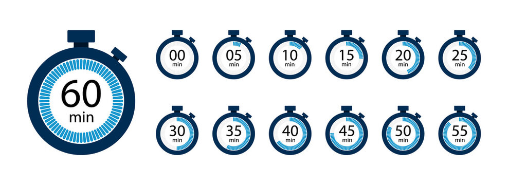 Stopwatch, timer icons set. Speed ​​measurements, countdown from 0 to 60 seconds. Vector illustration