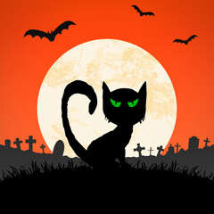 halloween spooky cat front of full moon