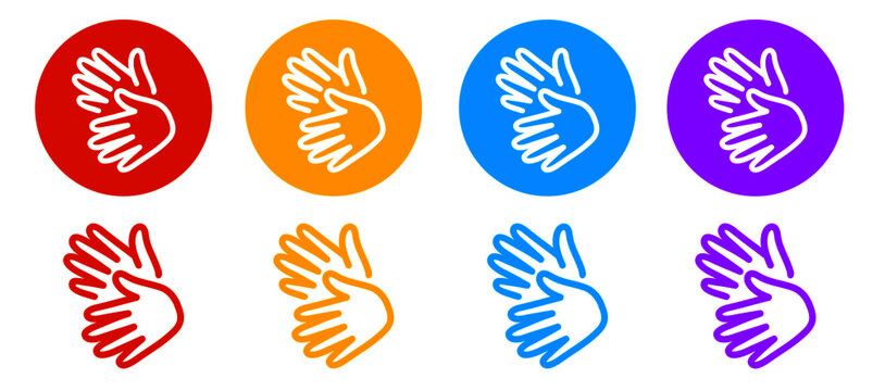 set of colorful hands sign language