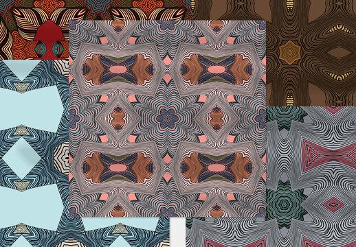 Seamless Pattern Collection with Mandala Motif