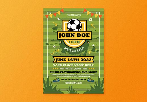 Kids Birthday Soccer Theme Flyer Layout