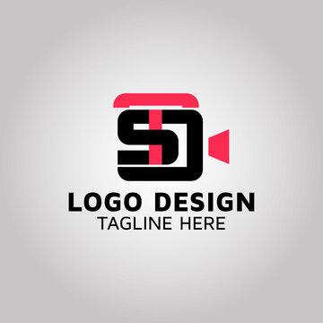 Letter TSD & video camera logo design idea | stock.adobe