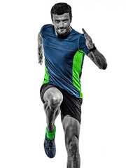 one caucasian handsome mature man running runner jogging jogger isolated on white background