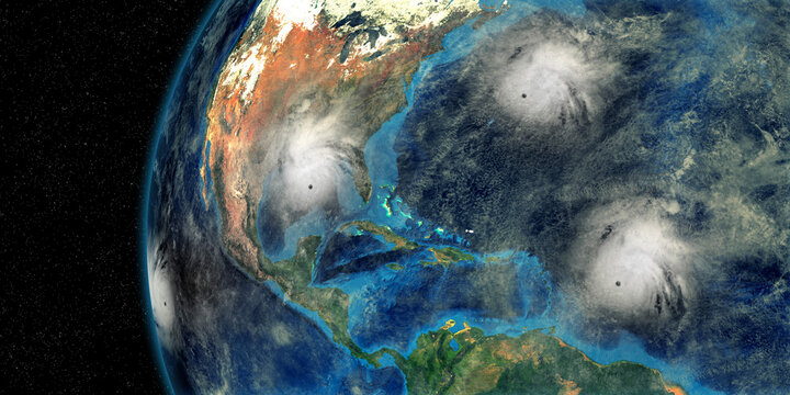 Hurricane Sally Paulette Teddy and Karina approaching the USA. Shot from Space. Elements of this 3D rendering are furnished by NASA.