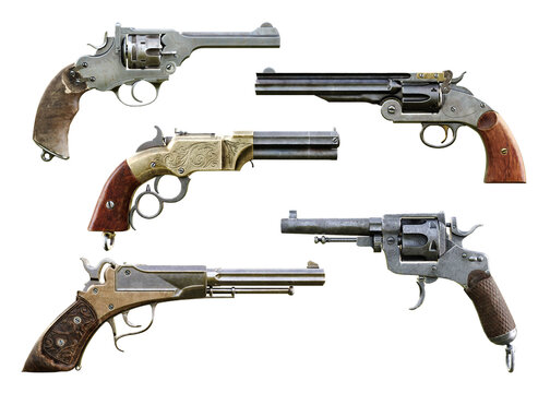 Western cowboy pistol booster pack 1 is a collection of assorted deadly and elegant hand gun firearms on a isolated white background. 3d rendering
