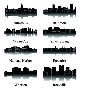 8 city silhouette in Maryland ( Ocean City, Annapolis, National Harbor, Silver Sping, Rockville, Wheaton, Baltimore, Frederick )