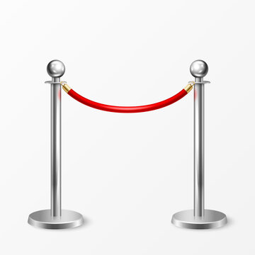 Vector 3d Realistic Chrome Fence for the Red Carpet Closeup Isolated on White Background. Red Barrier Rope. Silver pole. Front View. Luxury, VIP concept. Equipment for Events
