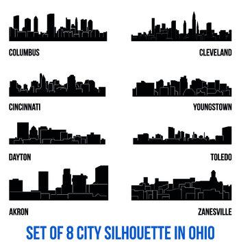 Set of 8 city silhouette in Ohio ( Columbus, Cleveland, Cincinnati, Youngstown, Dayton, Toledo, Akron, Zanesville )