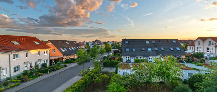 street with new, modern homes in a suburb of germany