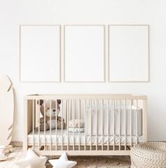 Obraz Poster frame mock up in child bedroom, Scandinavian unisex nursery design, 3d render - fototapety do salonu