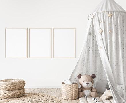 Three vertical frames in children room mock up, kids room design in farmhouse style, 3d render